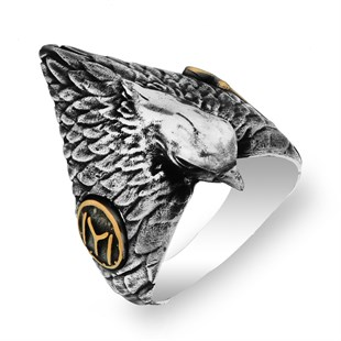Resurrection Ertuğrul Series Film Falcon Motif Silver Ring