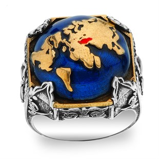 World Map Silver Ring